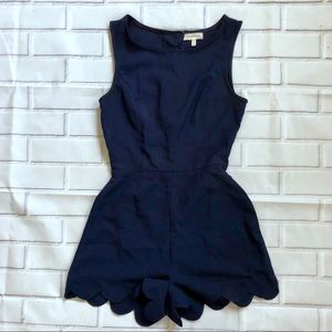 {Monteau} Scalloped Navy Romper
